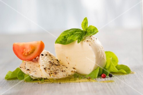 Mozzarella with basil and tomato