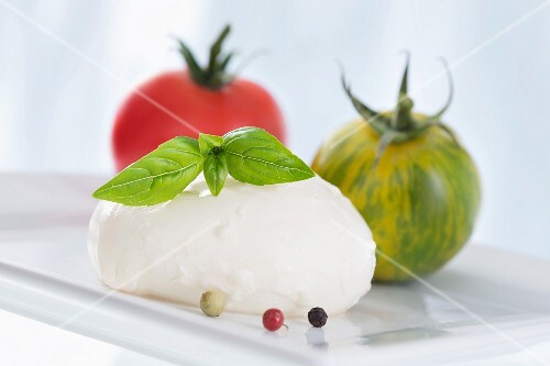 Red and green tomatoes, basil, peppercorns and mozzarella