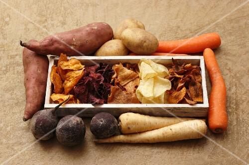 Fresh vegetables and vegetable crisps