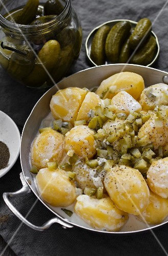 Sour potato medley with gherkins
