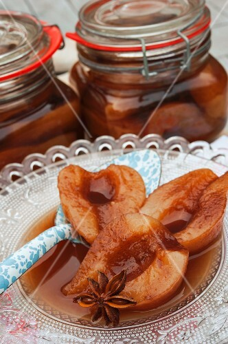 Pears in cherry brandy with star anise