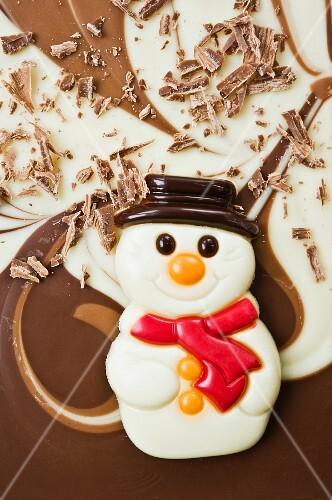 A chocolate snowman