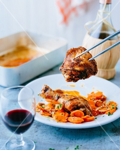 Chicken legs with sesame seed carrots