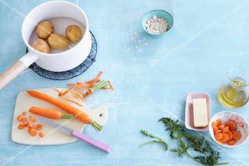 Vegetables, cereal grains, oil and butter for baby food