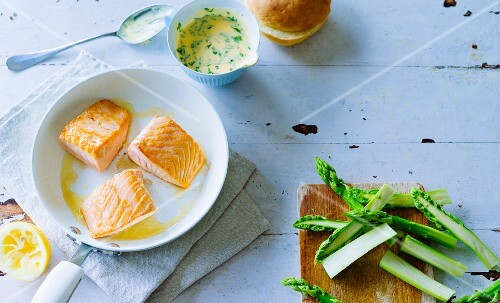 Ingredients for salmon and vegetable burgers