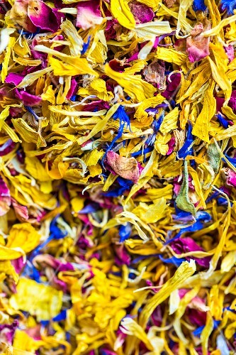 Dried petals from edible flowers (full frame)