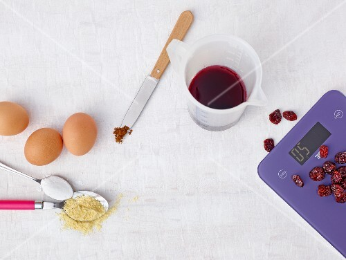 Digital kitchen scales and baking ingredients