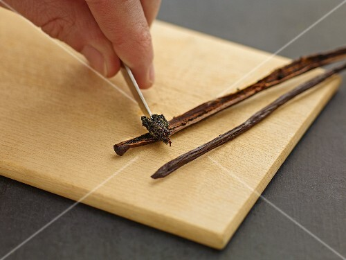 A vanilla pod being scraped out