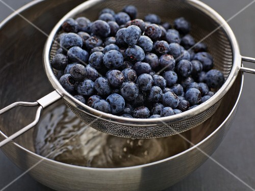 Blueberries being washed