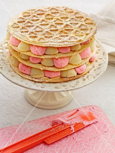 A waffle tower filled with two different coloured creams