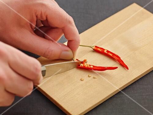 Deseeding a chilli