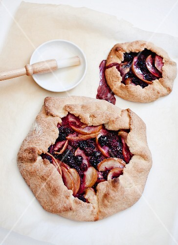 Two apple and blackberry galettes