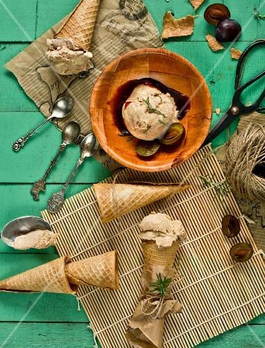 Homemade plum ice cream with ice cream cones