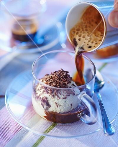 Chocolate and vanilla coffee