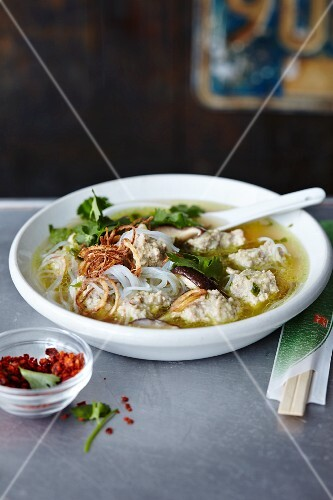 Glass noodle soup with meatballs (Asia)