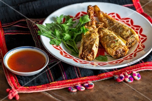 Stuffed bamboo with a dip, Laos