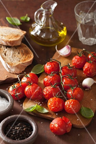 Ingredients for bruschetta with roasted tomatoes