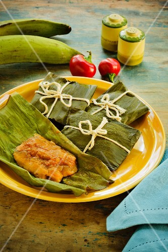 Pasteles (spicy, stuffed banana leaves, Puerto Rico)