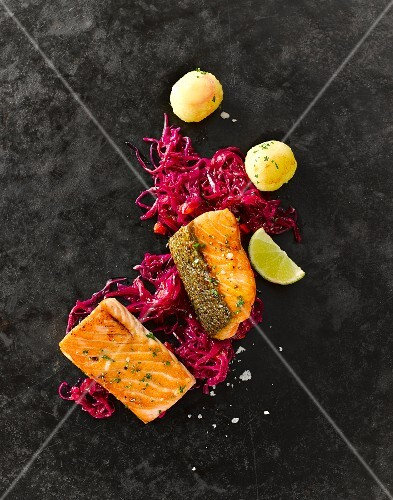 Salmon fillet with red cabbage and mini potato dumplings