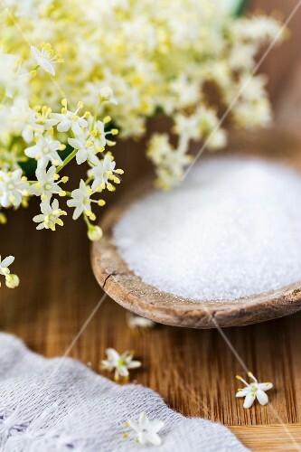 Ingredients for elderflower syrup: elderflowers and sugar