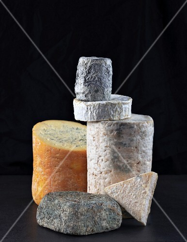 A large arrangement of cheese