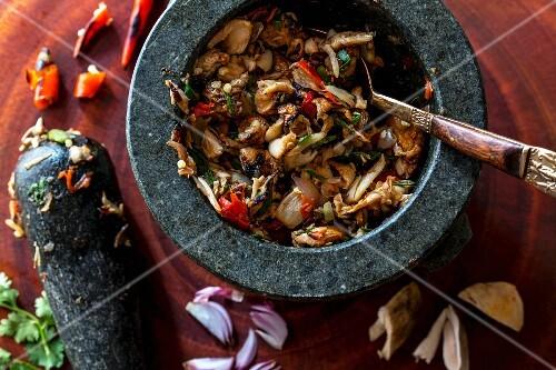 A mushroom and chilli dip, Laos