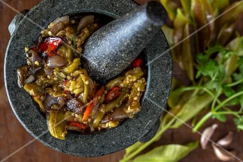 Aubergine and chilli dip, Laos