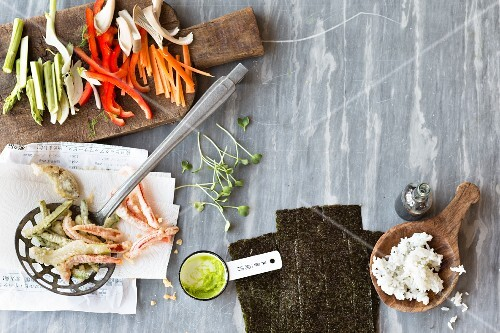 Ingredients for temaki, chirashi and oshi sushi