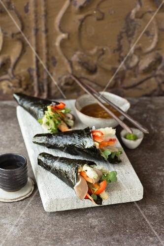 Tempura temaki with wasabi and a daikon dip