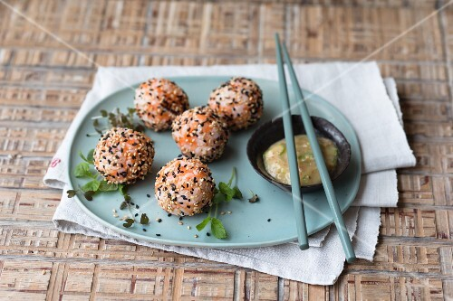 Rice balls with miso carrots and sesame seeds