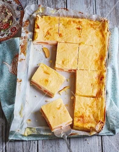 Apricot tray bake cake