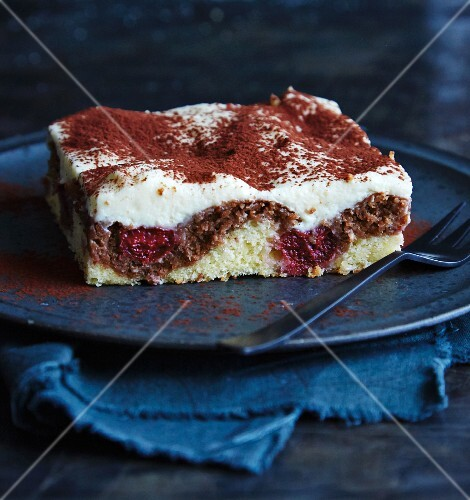 A slice of Donauwelle (German marble cake)