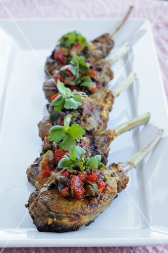 Lamb chops with roasted peppers and capers