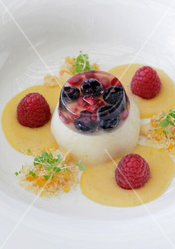 Panna cotta with blueberry and pomegranate jelly