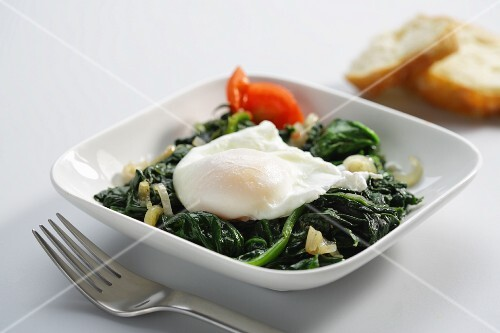 Poached egg on a bed of spinach