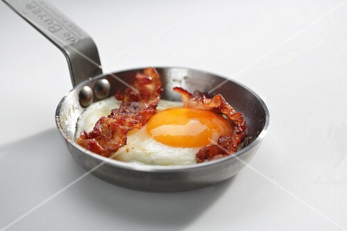 A fried egg with bacon in a pan