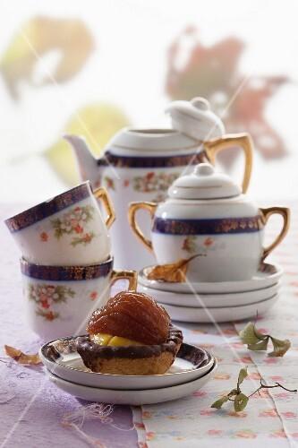 Tortino crema e castagna (chestnut cakes with cream, Italy)