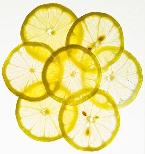 Back lit lemon slices