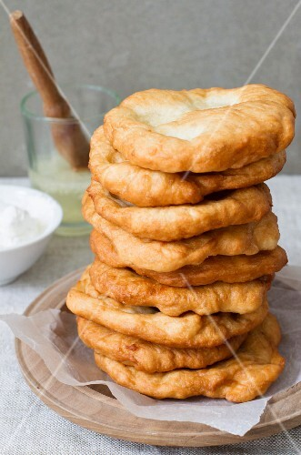 A stack of fried pastries