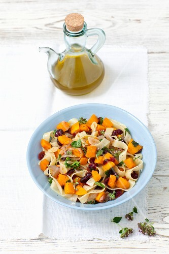 Tagliatelle with pumpkin, cranberries and herbs