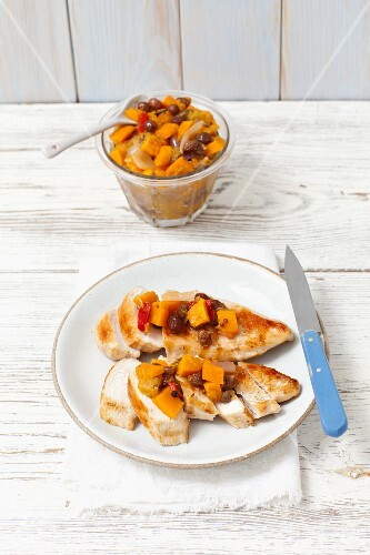 Chicken breast with pumpkin chutney