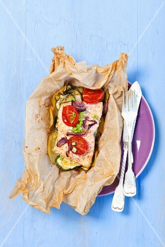 Salmon steak in parchment paper