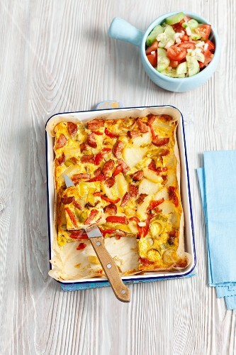 Frittata with potatoes, sausages and pepper