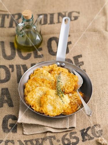 Potato cakes in a pan