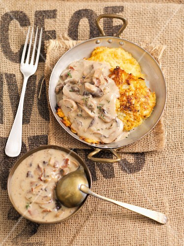 Potato cakes with mushroom sauce