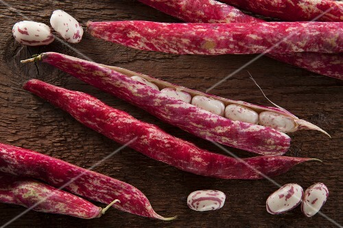 Borlotti beans on wooden background