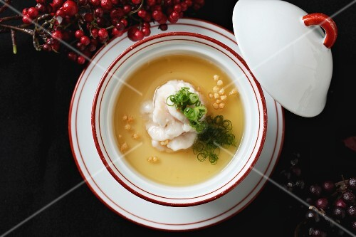 A clear broth with fish spleen (Japan)