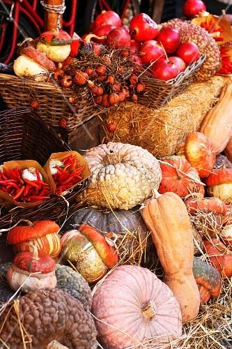 An autumnal arrangement featuring pumpkins, squash, fruit and vegetables at a market