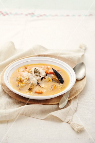 Fish soup with seafood (Spain)