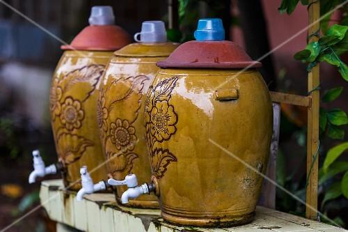 Ceramic chunks of water in a street in Yangon, Myanmar